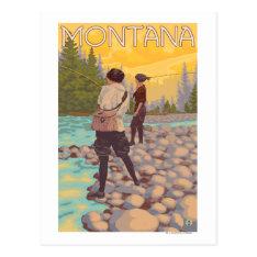 Women Fly Fishing - Montana Postcard at Zazzle