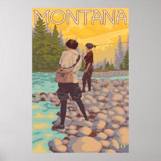 Women Fly Fishing - Montana Poster