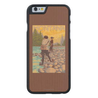 Women Fly Fishing - Montana Carved® Maple iPhone 6 Case