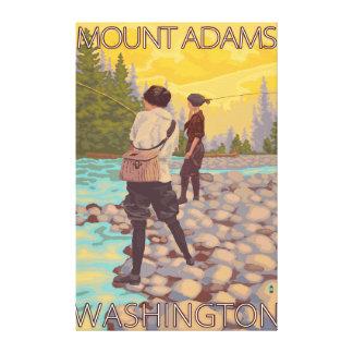 Women Fly Fishing - Mount Adams, Washington Canvas Print