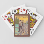 Women Fly Fishing - Mount Adams, Washington Deck Of Cards