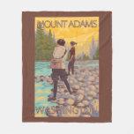 Women Fly Fishing - Mount Adams, Washington Fleece Blanket