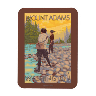 Women Fly Fishing - Mount Adams, Washington Magnet