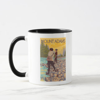 Women Fly Fishing - Mount Adams, Washington Mug