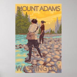 Women Fly Fishing - Mount Adams, Washington Poster