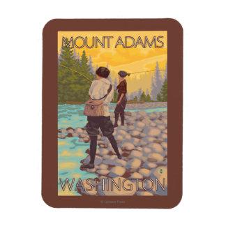 Women Fly Fishing - Mount Adams, Washington Rectangular Photo Magnet