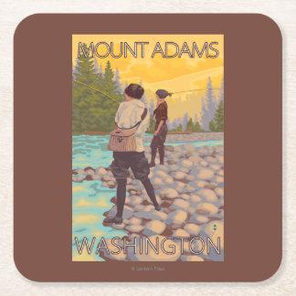 Women Fly Fishing - Mount Adams, Washington Square Paper Coaster