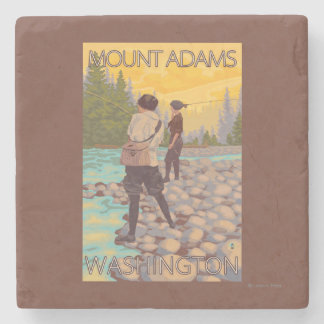 Women Fly Fishing - Mount Adams, Washington Stone Coaster