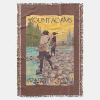 Women Fly Fishing - Mount Adams, Washington Throw Blanket