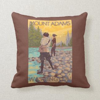 Women Fly Fishing - Mount Adams, Washington Throw Pillow