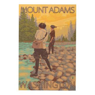 Women Fly Fishing - Mount Adams, Washington Wood Print