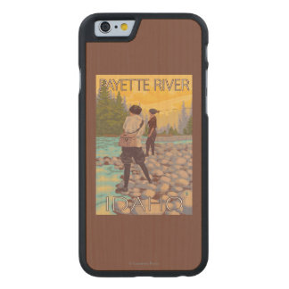 Women Fly Fishing - Payette River, Idaho Carved Maple iPhone 6 Slim Case