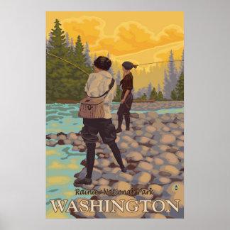 Women Fly Fishing - Rainier National Park - Poster
