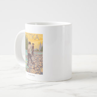 Women Fly Fishing - Sitka, Alaska Giant Coffee Mug