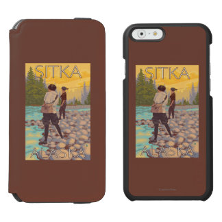 Women Fly Fishing - Sitka, Alaska iPhone 6/6s Wallet Case