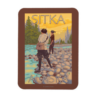 Women Fly Fishing - Sitka, Alaska Rectangular Photo Magnet
