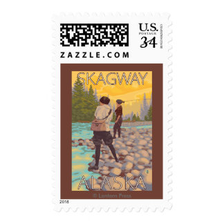 Women Fly Fishing - Skagway, Alaska Postage