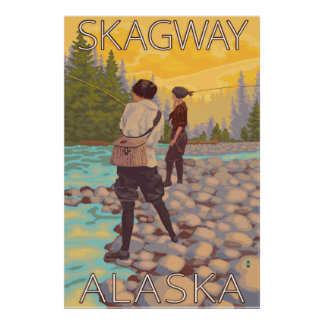 Women Fly Fishing - Skagway, Alaska Poster