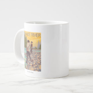 Women Fly Fishing - Snake River, Idaho Giant Coffee Mug