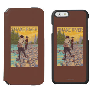 Women Fly Fishing - Snake River, Idaho iPhone 6/6s Wallet Case