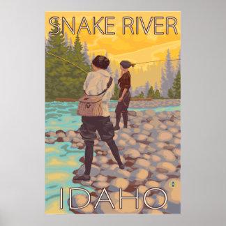 Women Fly Fishing - Snake River, Idaho Poster