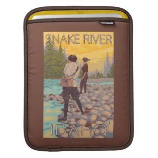 Women Fly Fishing - Snake River, Idaho Sleeves For iPads