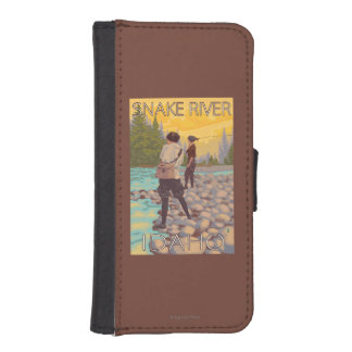 Women Fly Fishing - Snake River, Idaho Wallet Phone Case For iPhone SE/5/5s