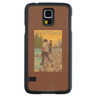 Women Fly Fishing - Troutdale, Oregon Carved Maple Galaxy S5 Case