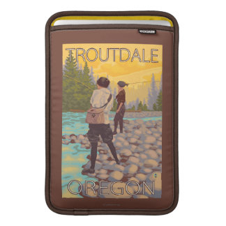 Women Fly Fishing - Troutdale, Oregon MacBook Sleeves