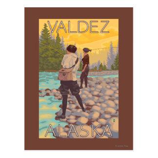 Women Fly Fishing - Valdez, Alaska Postcard