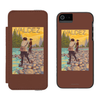 Women Fly Fishing - Valdez, Alaska Wallet Case For iPhone SE/5/5s