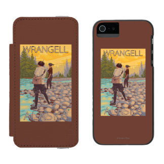 Women Fly Fishing - Wrangell, Alaska iPhone SE/5/5s Wallet Case