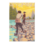 Women Fly Fishing - Wyoming Stretched Canvas Prints