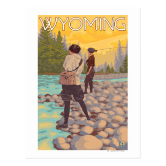 Women Fly Fishing - Wyoming Postcard