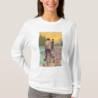 Women Fly Fishing - Wyoming T-Shirt