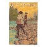 Women Fly Fishing - Wyoming Wood Print