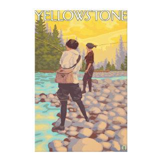 Women Fly Fishing - Yellowstone National Park Canvas Print