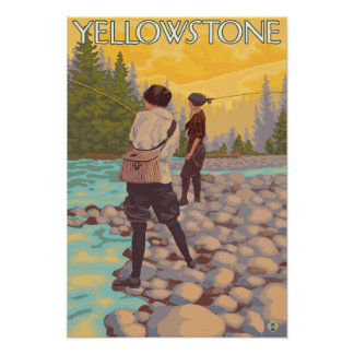 Women Fly Fishing - Yellowstone National Park Poster