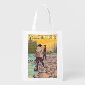 Women Fly Fishing - Yellowstone National Park Reusable Grocery Bags