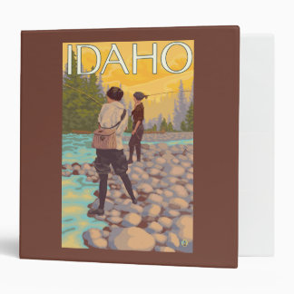 Women Fly FishingIdahoVintage Travel Poster 3 Ring Binder
