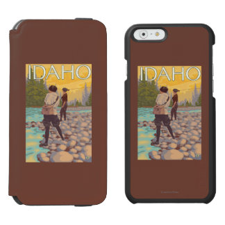Women Fly FishingIdahoVintage Travel Poster iPhone 6/6s Wallet Case