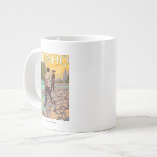 Women Fly FishingIdahoVintage Travel Poster Large Coffee Mug