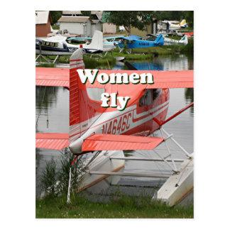 Women fly: float plane 23, Alaska Postcard
