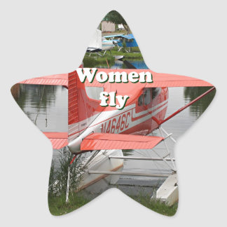 Women fly: float plane 23, Alaska Star Sticker