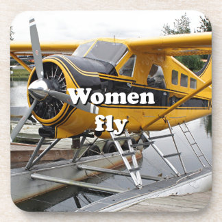 Women fly: float plane, Lake Hood, Alaska Beverage Coaster