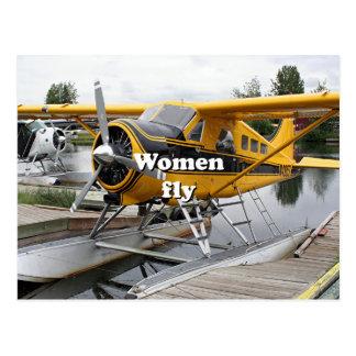 Women fly: float plane, Lake Hood, Alaska Postcard
