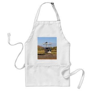 Women fly: Helicopter (white) 2 Adult Apron