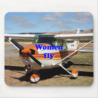 Women fly: high wing aircraft mouse pad