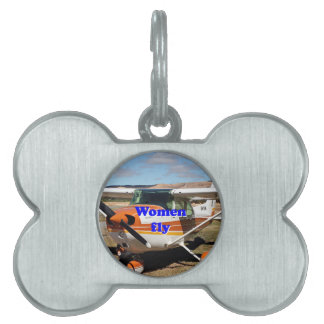 Women fly: high wing aircraft pet name tag