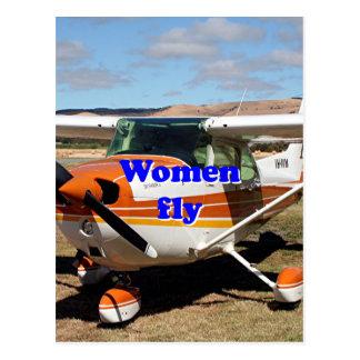 Women fly: high wing aircraft postcard